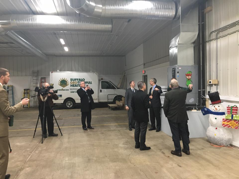 Politicians at Buffalo Geothermal Showroom
